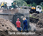 Concrete water tank construction for domestic use